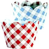 Red Checkered Cupcake Wrappers, 36, Farm Animals Birthday Party Supplies, I Do BBQ Decorations, Baby Q Shower Favor Bag Holder, Country Western Themed Cup Cakes, Cowboy B-Day, Blue Gingham Wraps