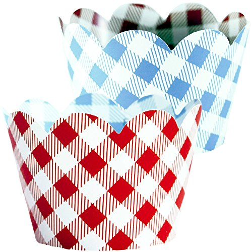 Red Checkered Cupcake Wrappers, 36, Farm Animals Birthday Party Supplies, I Do BBQ Decorations, Baby Q Shower Favor Bag Holder, Country Western Themed Cup Cakes, Cowboy B-Day, Blue Gingham Wraps by Confetti Couture (Image #9)