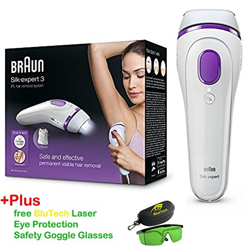 Braun BD3005 Silk-expert 3 IPL – Permanent visible hair removal at home for body & face + Free BlueTech Eye Protection Safety Goggle Glasses