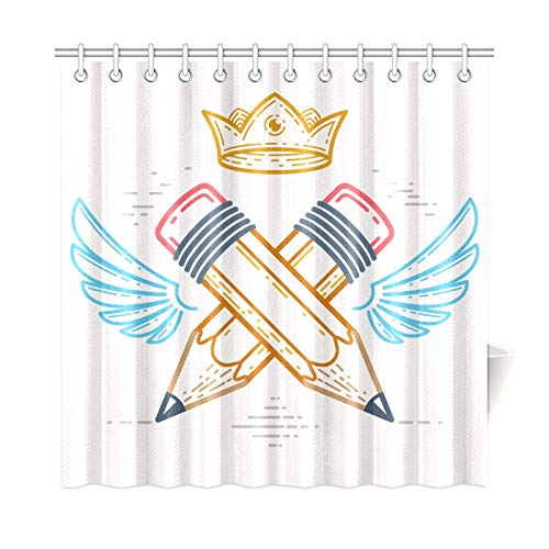 VNASKL Home Decor Farmhouse Shower Curtain Two Crossed Pencils Wings Crown Polyester Fabric Waterproof Country Bathroom Curtains for Bathroom 7272 Inch with Hooks ()