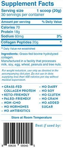 Hydrolyzed Collagen Peptides Protein Powder Unflavored - Grass Fed Paleo & Keto Collagen Supplement - Non-GMO, Gluten Free, Dairy Free, Soy Free - Protein 18g, 20g Collagen (30 Servings 1.3lbs) 3