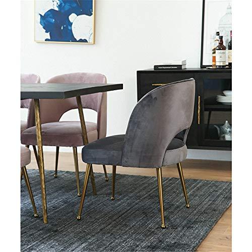 Vobajf Matstol elegant matstol modern fritid stoppad stol med metallben hem kontor stolar stolar (färg: Mörkgrå, storlek: 54 x 61 x 87 cm)