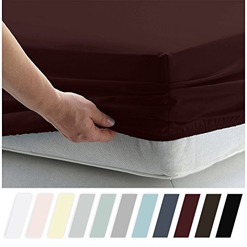 California Design Den 400 Thread Count 100% Cotton 1 Fitted Sheet Only, Long - Staple Combed Pure Natural Cotton Sheet, Soft & Silky Sateen Weave by (Twin, Wine Red)