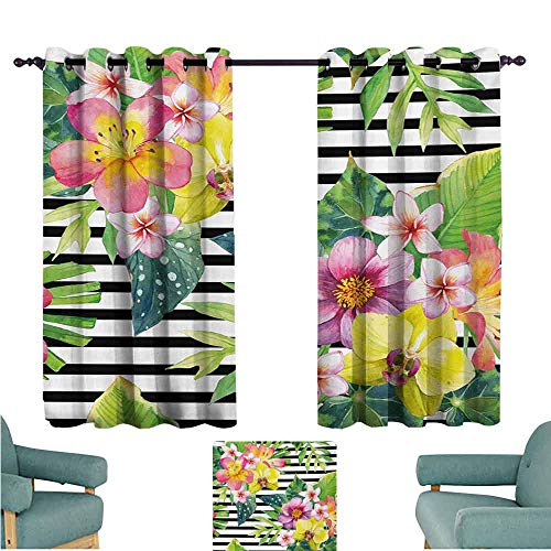 DONEECKL Decorative Curtains for Living Room Floral Bouquet with Lily Dahlia Palm Begonia Leaves Orchid Flowers on a Striped Background Noise Reducing Curtain W72 xL45 Multicolor