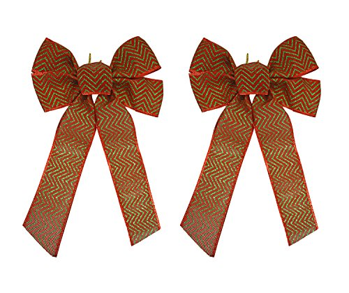 Set of 2 Red and Green Festive Holiday Christmas Bows - Perfect as Tree Ornaments - Tree Filler - Decorative Ornaments - Perfect for Preparing for the (Ornaments Pajamas)
