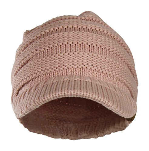 d90900f6e048e1 Warm Cable Ribbed Knit Beanie Hat w/ Visor Brim – Chunky - Import It ...
