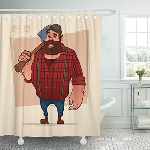 Badge Beanie - Emvency Shower Curtain Masculine Cartoon Character Holding The Axe Lumberjack Label Badge Simple Iilustration Man Beanie Beard Waterproof Polyester Fabric 72 x 72 inches Set with Hooks