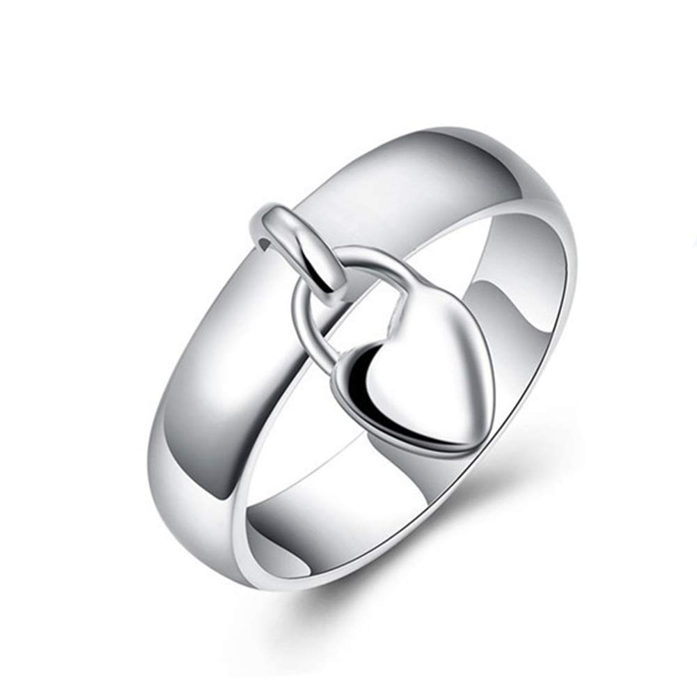 super1798 Fashion Silver Plated Heart Lock Engagement Promise Ring Charming Luxury Gift - 7 by super1798 (Image #1)
