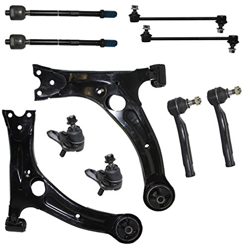 (10-Piece Front Suspension Kit - (2) Front Lower Control Arms, (2) Front Lower Suspension Ball Joints, (2) Front Sway Bar End Links, Front Inner & Outer Tie Rod Ends for 2003-2008 Toyota Corolla)