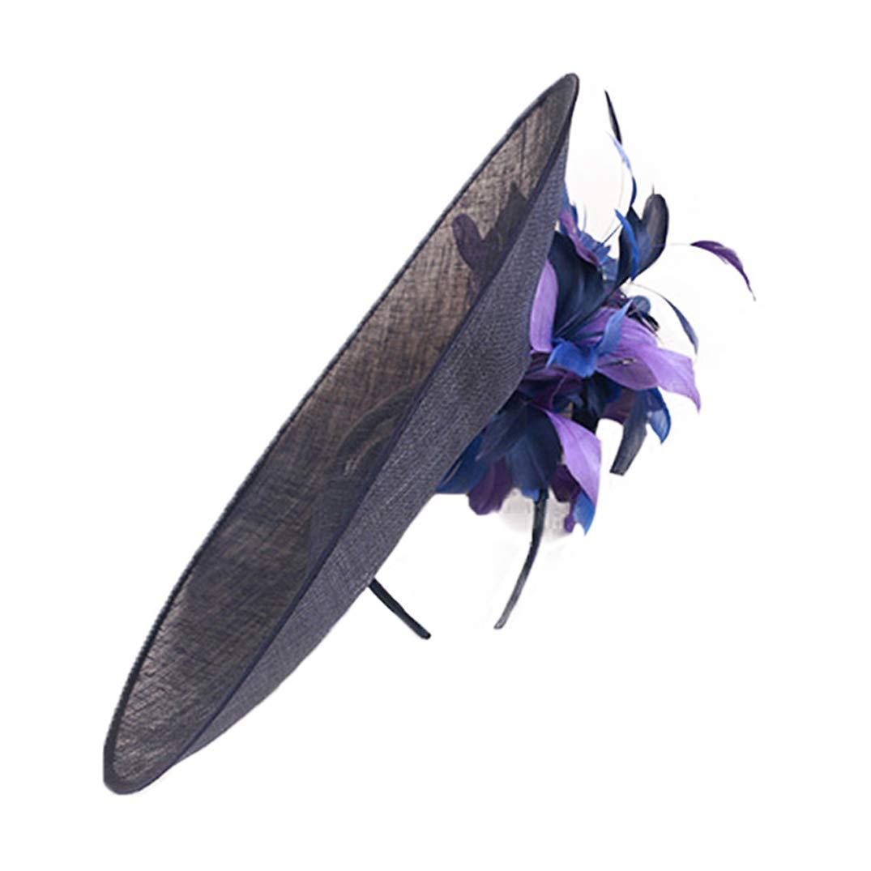 Fascinators Hat Women Large Brim Flowers Ladies Sinamay Royal Wedding Kentucky Derby Party Fedora Blue
