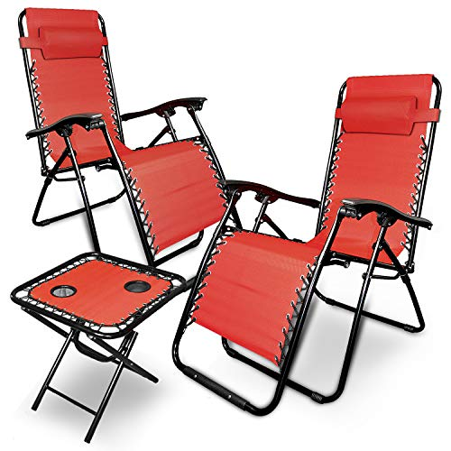 88Rose Zero Gravity Chairs Table with Cup Holder Set 3 Pieces Adjustable Folding Lounge Recliners with Head Rest Pillow for Patio Outdoor Yard Beach Pool Support 350lbs (RED)