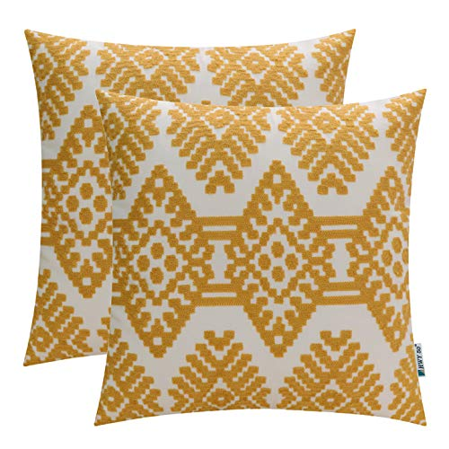 HWY 50 Yellow Embroidered Decorative Throw Pillows Covers Set Cushion Cases for Couch Sofa Living Room Modern Geometric Rhombus 18x18 inch Pack of 2