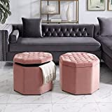 Cheap Inspired Home Nova Blush Velvet Storage Ottoman – Upholstered | Tufted | Livingroom, Entryway, Bedroom