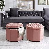 Inspired Home Nova Blush Velvet Storage Ottoman - Upholstered | Tufted | Livingroom, Entryway, Bedroom