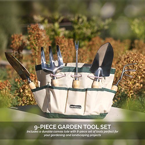 Gardenhome 9 piece stainless steel garden tool set with for Gardening tools malaysia