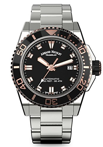 Armand Nicolet Men's Diver Automatic Watch Black Rose Gold Tone with Stainless Steel Bracelet