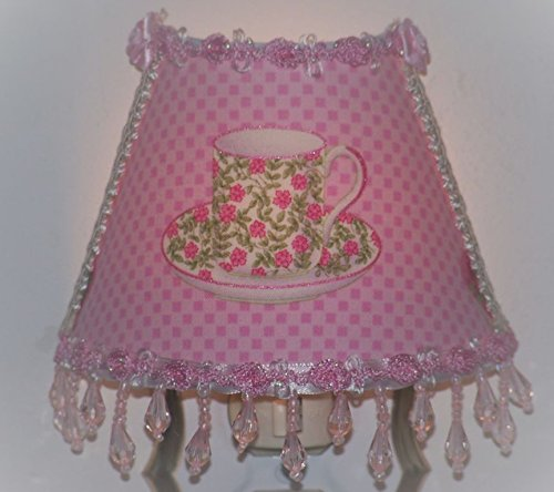 Rose Teacup Night Light with Pink Rosebud Trim and ()