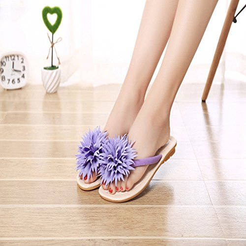 Bohemian T Summer Slippers Purple Flat Flops Womens Beach Ladies Flower JULY Slip Dress on Thong Flip Sandals twrOqFwx