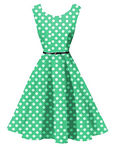 FitDesign Women's 1950s A Line Vintage Dresses Audrey Hepburn Style Floral Party Dress (Large, Green and White Polka Dot)