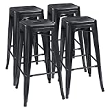 30 Inch Bar Stools with Back Furmax 30'' High Metal Stools Backless Indoor/Outdoor Use Stackable Modern Bar Stools Black (4 Pack)