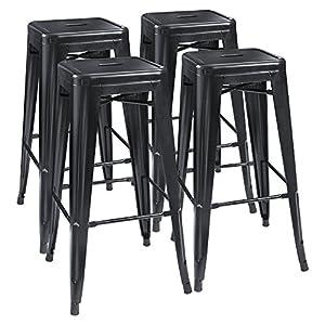 Four metal indoor/outdoor stools unstacked