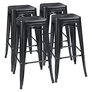 Furmax 30 Inches Metal Bar Stools High Backless Stools Indoor-Outdoor Stackable Stools Set of 4
