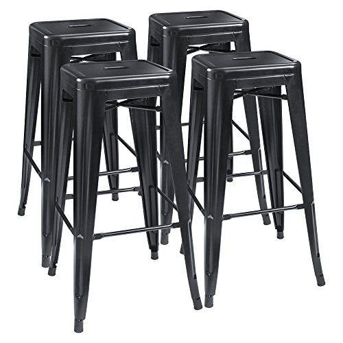 Outdoor Wood Finish Bar Stool - Furmax 30'' High Metal Stools Backless Indoor/Outdoor Use Stackable Modern Bar Stools Black (4 pack)