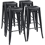 Furmax 30'' High Metal Stools Backless Indoor/Outdoor Use Stackable Modern Bar Stools Black (4 Pack)