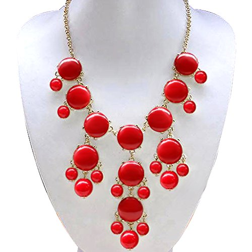 Red Bubble Coral (CharmSStory Red Statement Necklace Golden Chain Chunky Bib Bubble Bib)