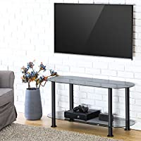 FITUEYES Classic Grey Tempered Glass Coffee Table Tv Stand Suit for up to 46-inch LCD LED Oled Tvs TS210001GB