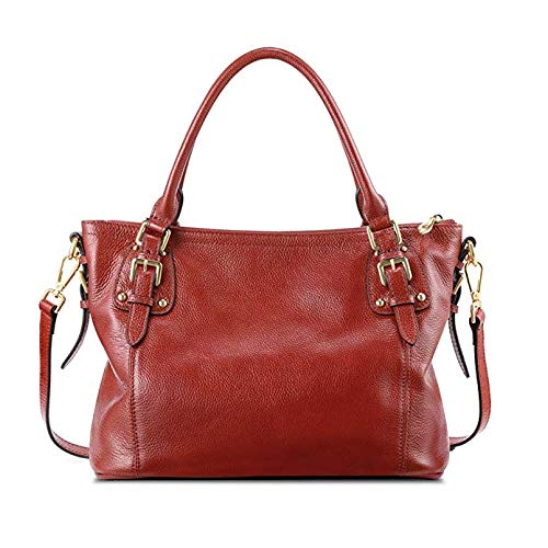 Kattee Women's Genuine Leather Handbags Shoulder Tote Organizer Top Handles Crossbody Bag Satchel Designer Purse