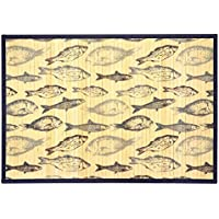 Kitchen Rugs Area Rugs 3 ft by 5 ft Bamboo for Indoor or Outdoor Patio Rug Blue Fish