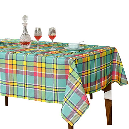 JIATER Modern Plaid Table Cloth Spillproof Polyester Fabric Rectangle Tablecloth (60 x 104, Yellow Green Plaid) (Table High Large Rectangle)