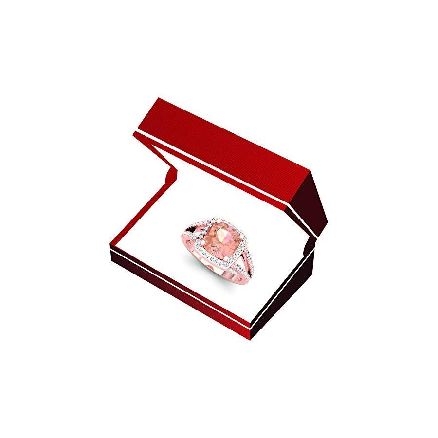 Dazzlingrock Collection 14K Gold Cushion Cut Morganite & Round Cut White Diamond Bridal Split Shank Halo Style Engagement Ring