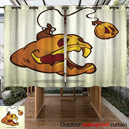 RenteriaDecor Outdoor Curtains for Patio Sheer Halloween Pumpkin with Scary face on White Vector Illustration Isolated W55 x L72 -