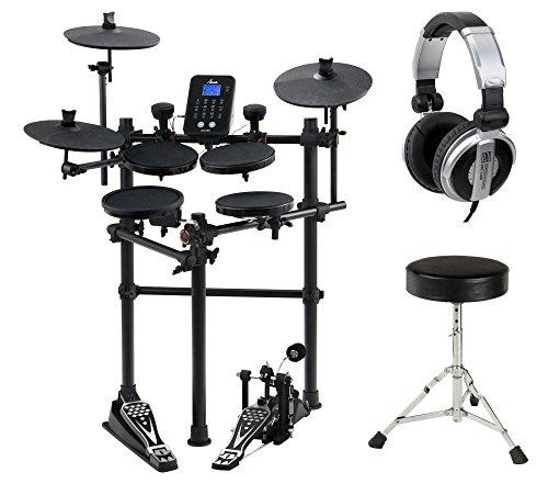 XDrum DD-450 E-Drum-Set KomplettSET inkl. Fußmaschine, Hocker und Kopfhörer (Komplett Set, 4 Drum Pads, 3 Cymbals, 2 AFI-Trigger Pads, HiHat Pedal, Kick Pad, Crash- und Ride-Becken abstoppbar, Aufnahmefunktion, LCD, USB-MIDI, AUX) schwarz