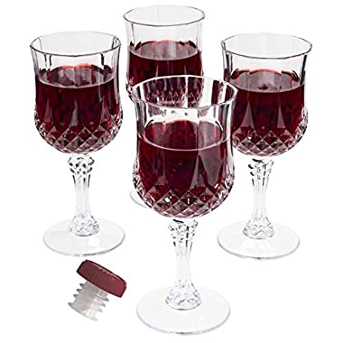 Prexware Set of 8 Unbreakable Wine Glasses, Acrylic Wine Glasses, Cryslal Like Wine Glasses. And 1 Wine Bottle Stopper Pourer