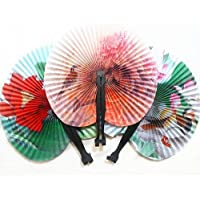 Shineweb 3Pcs Foldable Chinese Oriental Floral Paper Hand Fans Wedding Table Favors