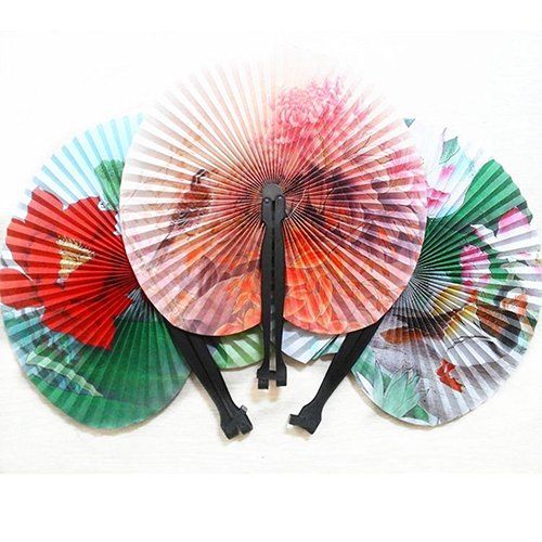 Womens Floral Fan - Shineweb 3Pcs Foldable Chinese Oriental Floral Paper Hand Fans Wedding Table Favors