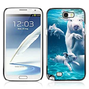 Designer Depo Hard Protection Case for Samsung Galaxy Note 2 N7100 / Swimming Pigs