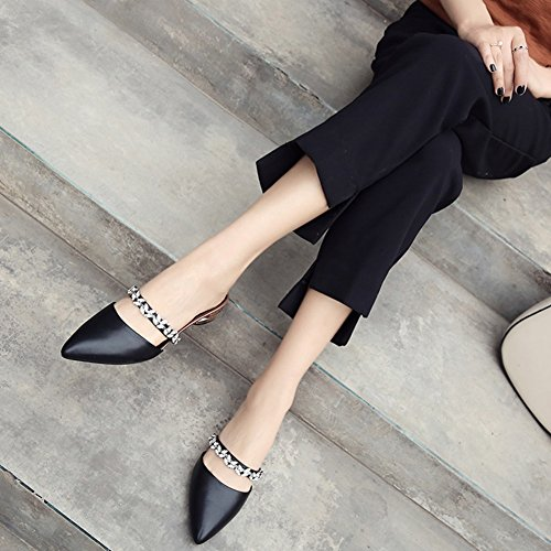 De Cuero Color De EU37 Blanco Sandalias Medias Mujer Negro Bajo Exterior Baotou Acentuadas L 23cm Verano De UK4 Tamaño Desgaste Zapatillas ZCJB Talones qfZYw0xSt