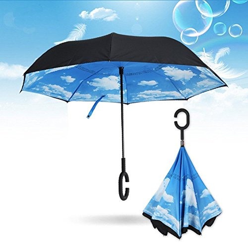 NEWBRELLAs Inverted Umbrella for Car Use with Perfect Day Sky (Dallas Cowboys Clearance)