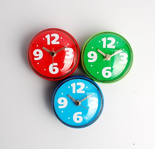 NW 2.9 x 2.9 x 1.6 inches Red Wall Clock with Suction cup,Waterproof,Lovely ,Fix on Glass,Mirror or Other Smooth Wall