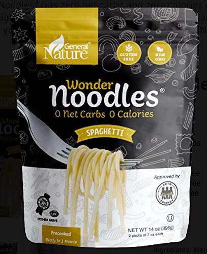 Wonder Noodles, Kosher, Vegan Friendly, Zero- Carb, Zero Calorie Noodles, Ready To Eat Pasta, Spaghetti, 14 Oz Bag [5 Pack]