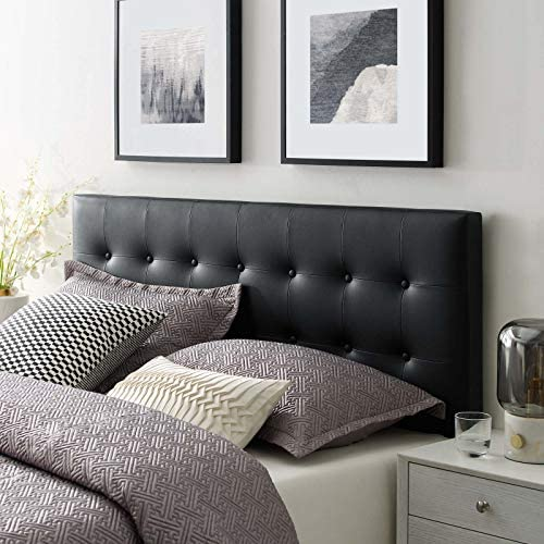 Modway Emily Tufted Button Faux Leather Upholstered King Headboard in Black