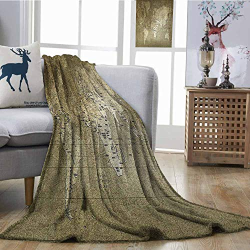 Swiss Army Atlas - Fickdle Sofa Blanket Antique Old World Map with Great Texture Nostalgic Ancient Plan Atlas Trace of Life World Army Green Lightweight Super Soft Comfort W70 xL70