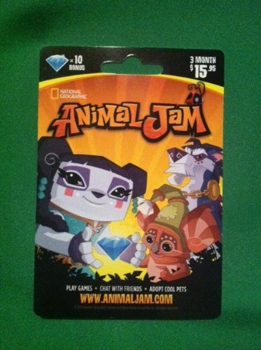National Geographic Animal Jam Online Game Card - 10 Diamonds - 3 Month Membership - Kangaroo, Arctic Wolf, Snow Leopard or Lion by National Geographic