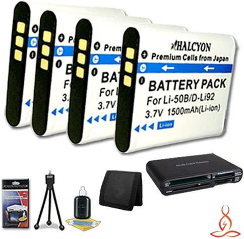 Multi Card USB Reader Memory Card Wallet Deluxe Starter Kit for Olympus SZ-10 14 MP Digital Camera and Olympus LI-50B Four Halcyon 1500 mAH Lithium Ion Replacement LI-50B Battery