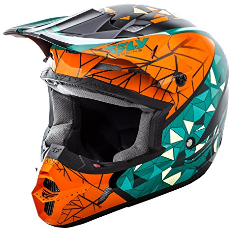 (Fly Racing Unisex-Adult Full-face-Helmet-Style Kinetic Crux (Teal/Orange/Black, Youth Small))