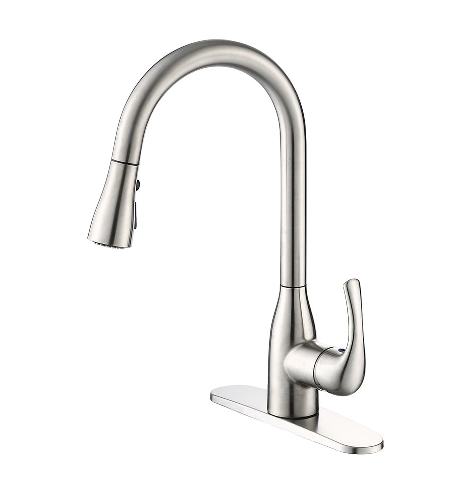 Brushed Nickel Single Handle Pull Down Kitchen Sink Faucet,Lead Free,Easy to Install,Stream or Spray, Spout Rotates 360 Degrees HONGKEN